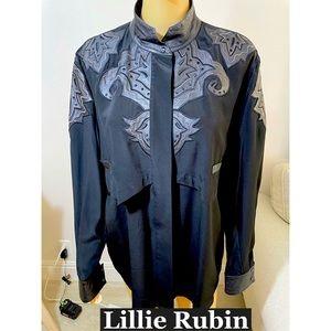 Lillie Rubin Silk W/ Vegan leather Trimmed Sz Lg
